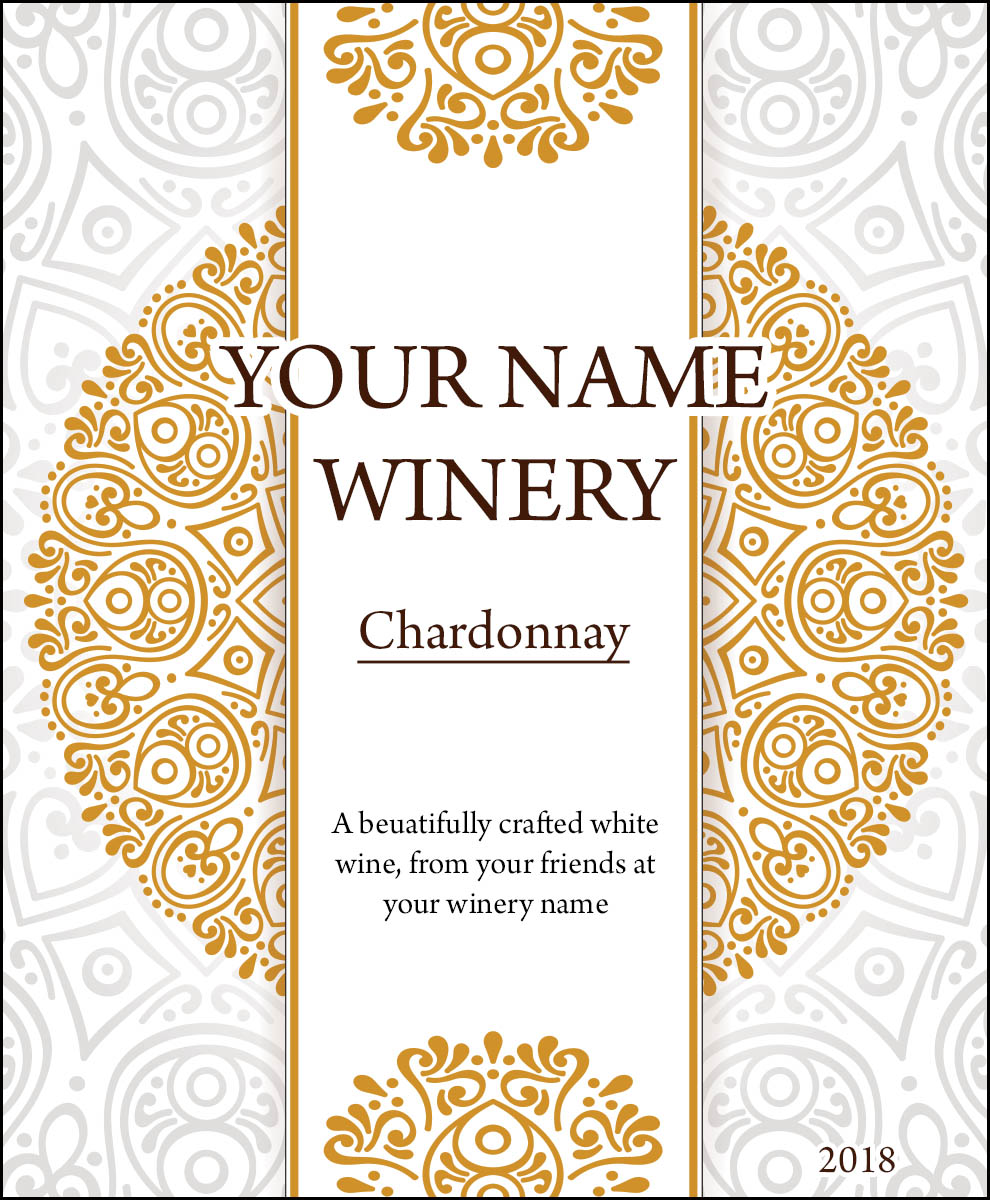 Gold and silver mandala style personalized reusable wine label for your personalized wine bottle
