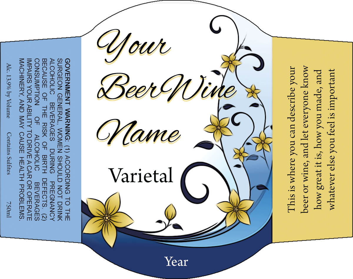 Swirly flowers on this reusable custom personalized beer and wine label