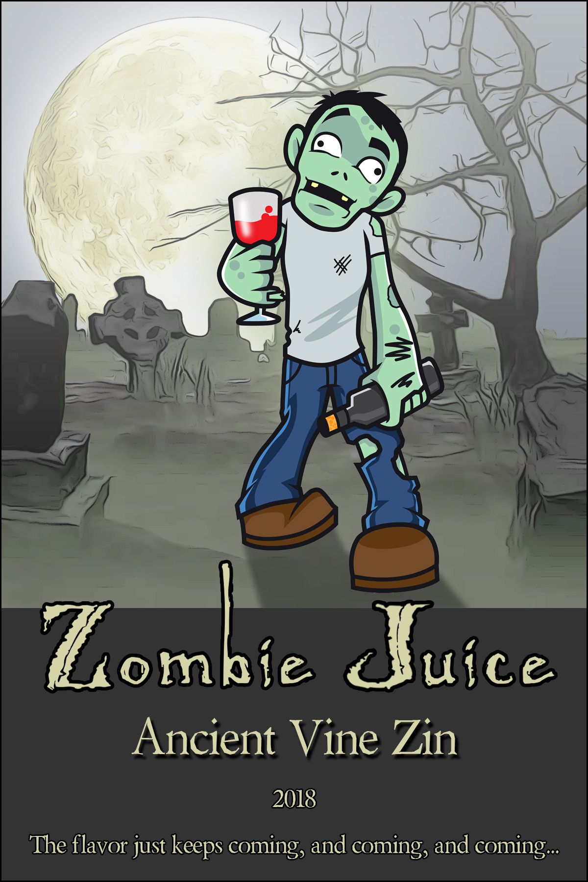 Zombie in Halloween graveyard custom personalized wine label with gravestones and scary moon