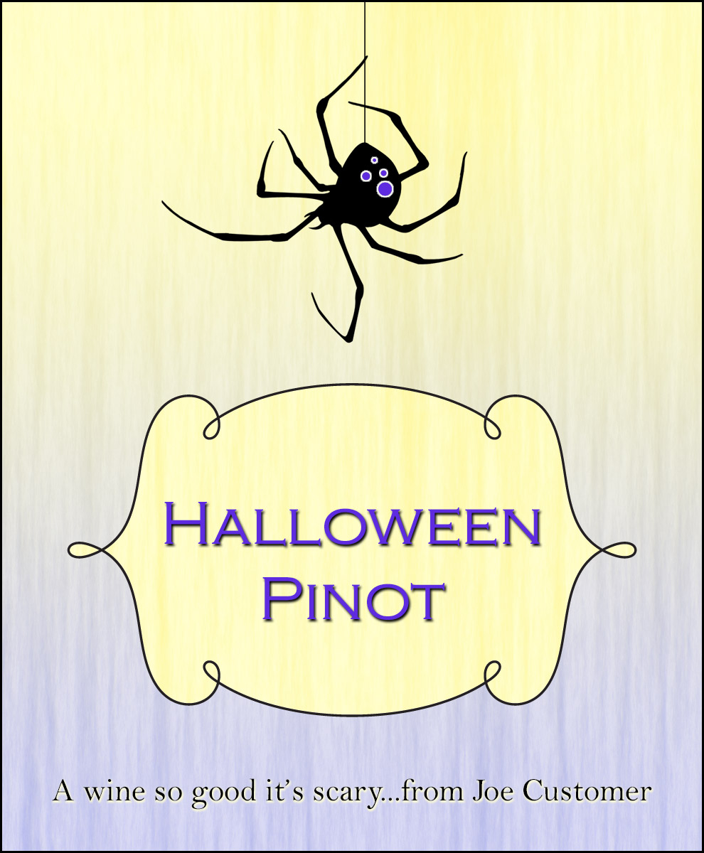 Black widow spider personalized wine label with Halloween background