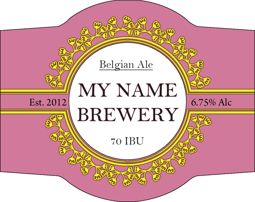 Ring of yellow flowers on pink background custom beer label