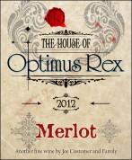 Label for Homemade Wine Optimus Rex