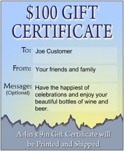 Custom Wine Label Gift Certificate