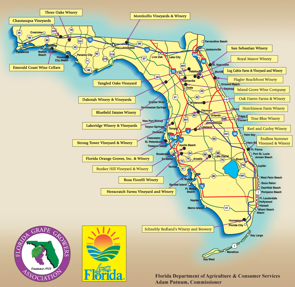 Florida Grape Growers Association Map