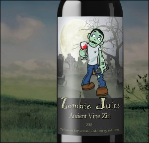 Custom Wine Label with Zombie for Halloween