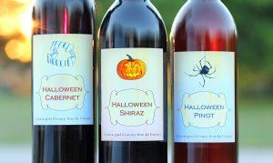 Halloween Custom Wine Labels Three Designs